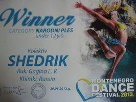 Танцевальный коллектив «Щедрик» стал победителем Международного фестиваля «Montenegro Dance Festival 2013» в категории «Народный танец, возраст до 12 лет»